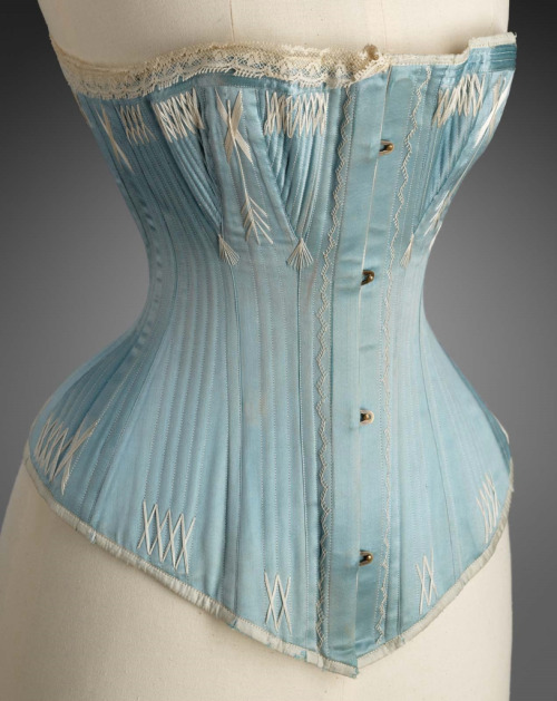 light blue silk corset with flossing 1870-1885